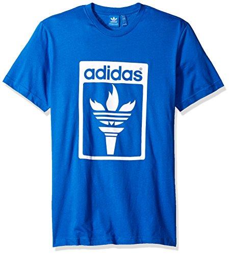 adidas Originals Men's Originals Trefoil Fire Tee, Blue Bird, XX-Large