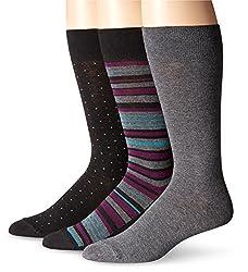 Jockey Men's Multi Stripe 3 Pack Sock, Black, 10-13/6-12
