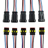 E Support 3 Pin Way Car Auto Waterproof Electrical Connector Plug Socket Kit with Wire AWG Gauge Marine Pack of 5