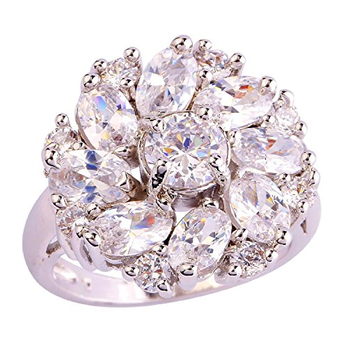 Psiroy 925 Sterling Silver Stunning Created Gorgeous Women's 6mm*6mm Round Cut CZ White Topaz Filled Ring