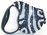 Zebra Silver and Black Crystal Rhinestone Retractable Dog Leash Large 16 Feet thumbnail
