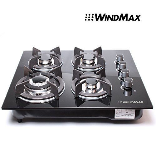 "!!! New Arrival !!!24"" Black Electric Tempered Glass Built-In Kitchen 4 Burner Gas Hob Cooktop"