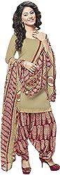 K.K BROTHERS Women's Satin Dress Material (Beige)