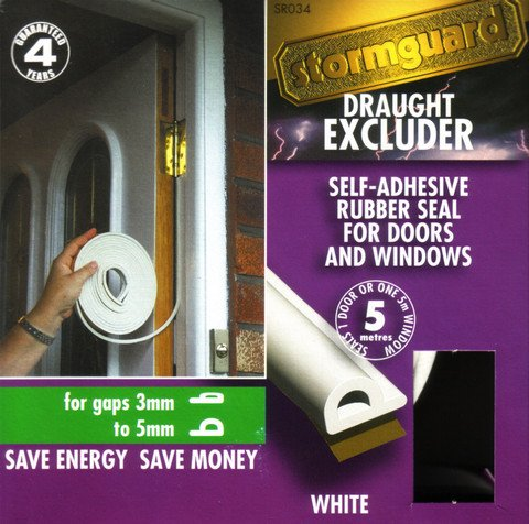 P Profile WHITE - EPDM Rubber Draught Seal and Foam Draught Excluder Window or Door draft,