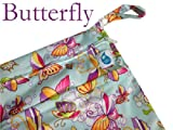Cheeky Wipes Reusable Nappy Swim Double Wetbag (Two Pocket) (Large, Blue Butterfly)