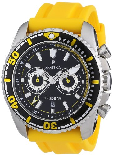 Festina F16574/1 - Reloj cronógrafo de cuarzo para hombre con correa de caucho, color amarillo