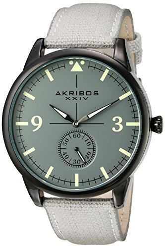 Akribos-XXIV-Mens-Dark-Gray-Case-with-Dark-Gray-Dial-on-a-Gray-Canvas-Strap-Watch-AK938GY