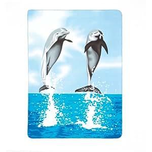 Gifts & Decor Dolphin Print Fleece Blanket Turquoise Blue Sofa Throw