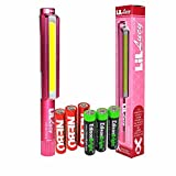 Nebo 6496 LiL Lucy 250 lumen Flashlight COB LED Magnetic Worklight, pink with 3 X EdisonBright AAA Alkaline batteries bundle