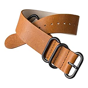 ZULUDIVER UK Brown Leather Watch Strap, PVD Black [20 mm or 22 mm]