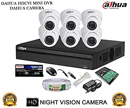 Dahua-DH-HCVR4108HS-S2-8CH-Dvr,-6(DH-HAC-HDW1000RP)-Dome-Cameras-(With-Accessories,-2TB-HDD)