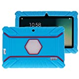 Turpro Kids' Shockproof Silicone Case for Chromo Inc 7 inch, Alldaymall A88X, Dragon Touch Y88X Plus/Y88X, VURU A33, NPOLE 7 Inch Tablet (Light Blue)