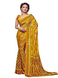 Pushkar Sarees Crepe Saree (Pushkar Sarees_11_Yellow)