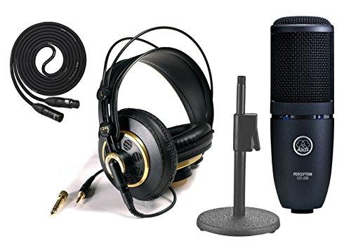 Akg Perception 120 Usb Condenser Mic With Akg K240 Studio - Professional Studio Headphones, On Stage Desktop Stand, Lyxpro 15' Black Premium Cable Xlr M/F