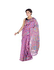 ELife Purple Cotton Silk Designer Saree For Women