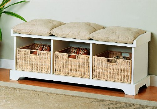 Coaster Storage Bench with Baskets and Cushions, White