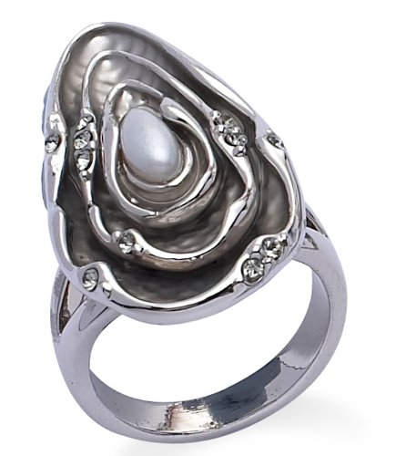Jodie Rose Silver Colour Metal Shell Ring  Imitation