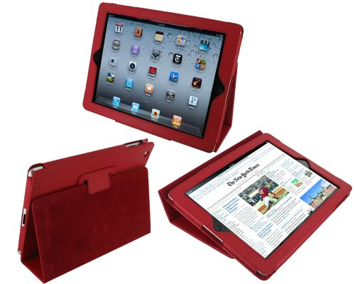 rooCASE Dual Station Premium Leather (Red) Case Cover with Stand for Apple iPad 2 Wifi / 3G Model 16GB, 32GB, 64GB