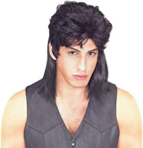 Rubie's Costume Humor Black Mullet Shoulder Length Wig, Black, One Size