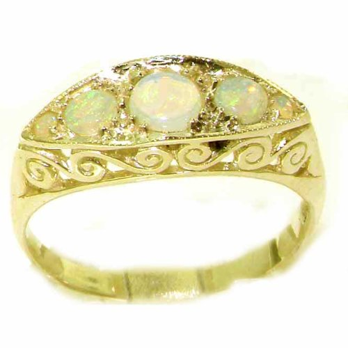 Carved Solid 9ct Gold Natural Fiery Opal Ring - Size L 1/2 - Finger Sizes K to Y Available - Ideal gift for for Christmas, Birthday, Valentines or Mothers Day