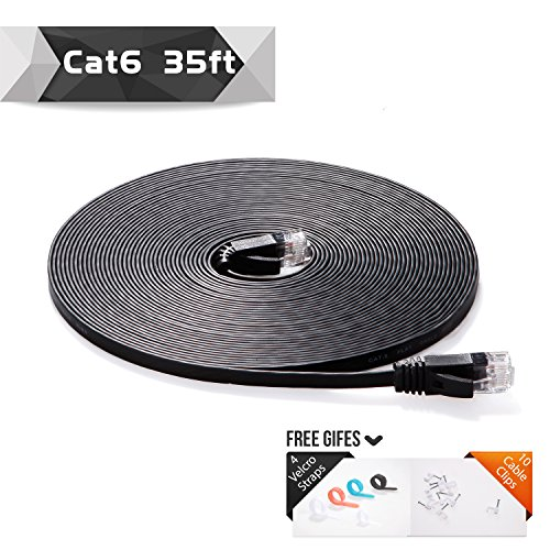 Cat 6 Ethernet Cable Black 35ft (At a Cat5e Price but Higher Bandwidth) Flat Internet Network Cable - Cat6 Ethernet Patch Cable Short - Computer Cable With Snagless RJ45 Connectors (Ethernet Cable 35 compare prices)