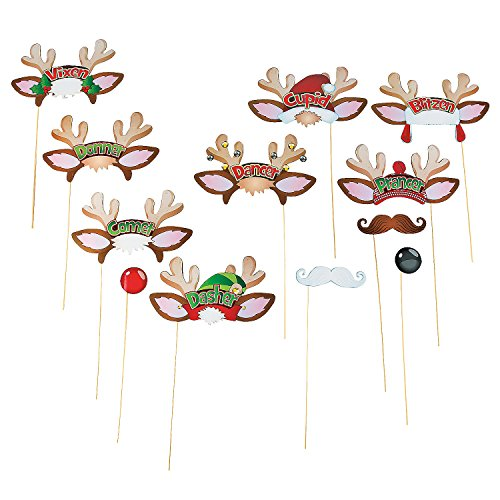 Santa's Reindeer Photo Booth Costume Props (12 Pieces)