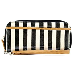 Mundi Black Stripe Nautical Double Zip Clutch Wristlet Wallet