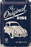 Volkswagen VW Beetle Original Ride Blue Metal Sign 20x30cm