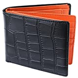 [レガーレ] メンズ 本革 二つ折り財布 カードたくさん入る 10色 (オリジナル化粧箱入り) クロコブラック×オレンジ