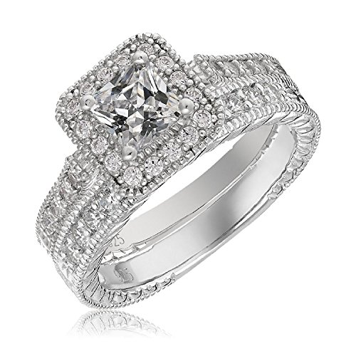 Mars Wings Platinum Plated Sterling Silver Engagement Wedding Ring Set Princess Cut Cubic