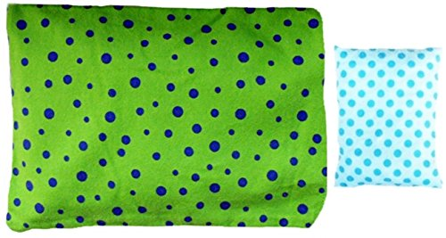 ***Green And Blue Spots Gift Set*** Microwaveable Heating Pad With Machine Washable Sleeve And A Handybag Mini