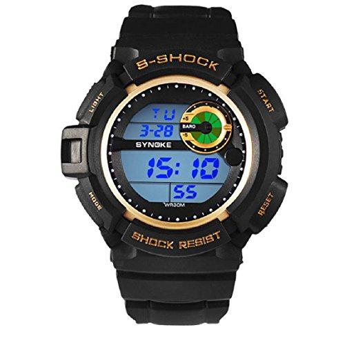 Zps(Tm) Men Waterproof Sports Digital Led Alarm Day Date Rubber Band Wrist Watch (Gold)