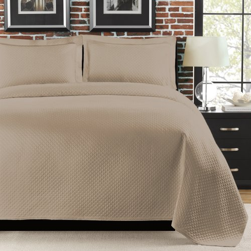 Lamont Home Diamante Coverlet, King, Taupe front-536559