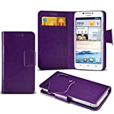 ( Purple ) Huawei Ascend G630 Protective Stylish Fitted Super Thin Faux Leather Suction Pad Wallet Case Cover Skin With Credit/Debit Card Slots by ONX3