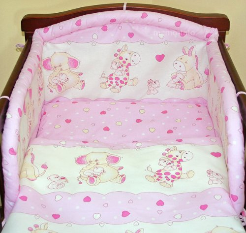 Pink hearts 3 pieces bedding set Cot bed (70cm x 140cm)