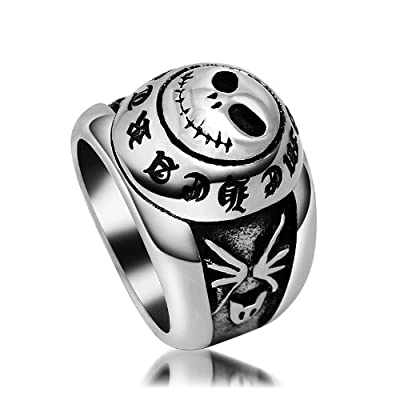 Skull Smiling Face Stainless Steel Ring Gothic & Vintage Biker Look Style Size 6 to 10
