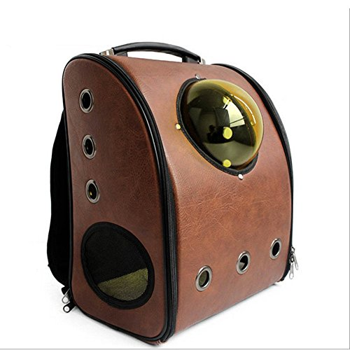 Not A Pet Capsule Type Pet Carrier Outside Portable Small Medium Dogs Cats Backpack Bags Blue ,Yellow,Coffee,Pink (Coffee)