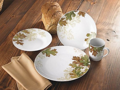 Fall Leaves 16 Piece Dinnerware Set by Lee Kromschroeder Bring nature\u0027s stunning autumn artistry to your tabletop Lee Kromschroeder\u0027s crisp oak leaves ... & Thanksgiving Dinnerware Sets | Thanksgiving Wikii