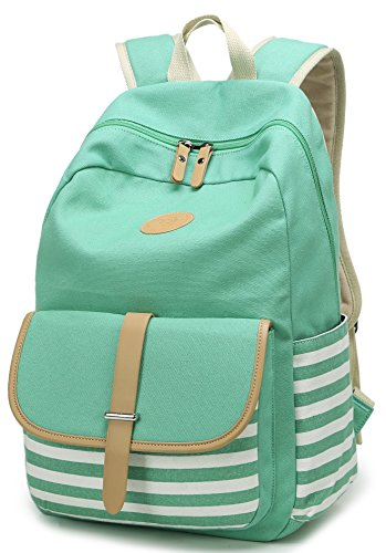 Geek-M Canvas Backpack Nautical Striped School Rucksack Satchel for Teens Girls (Green)