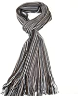 Lovarzi Men's Fine Wool Merino Scarf - Luxurious Striped Super Soft Winter Scarf for Men