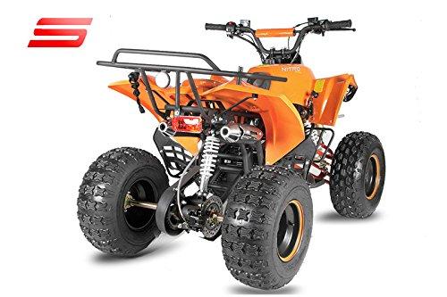 nitro motors atv warrior 3g8 quad pour enfant semi automatique avec marche arri re 125 cc orange. Black Bedroom Furniture Sets. Home Design Ideas