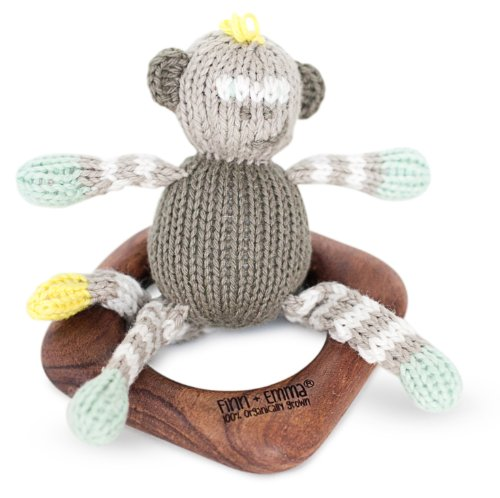 Finn + Emma Organic Cotton Baby Neutral Rattle Teething Ring - Monkey - 1