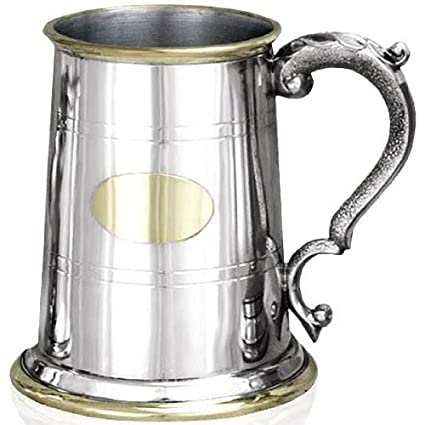 One Pint Old London Brass Trimmed Pewter Tankard Personalize with Free Engraving by Macdonald Sporrans