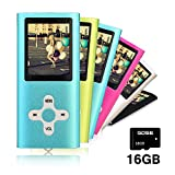 Goldenseller 16GB Mp3 Player Mp4 Player for a Micro SD Card Slot, Media Player, Music Player, Portable Videos Player,Voice Recording Player, With a support of MP3, JPEG, TXT files and WMA (Blue)