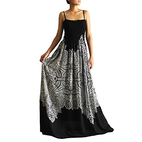 The WomenLand Black & White Women Maxi Extra Long Party Dresses B&W Clothings (1