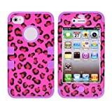 Leopard Print Pattern Protective Silicone Case for iPhone 4/4S (Assorted Colors) ( Color : Purple )