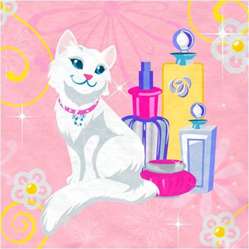 Barbie Perennial Beverage Napkins with White Cat - 16 count