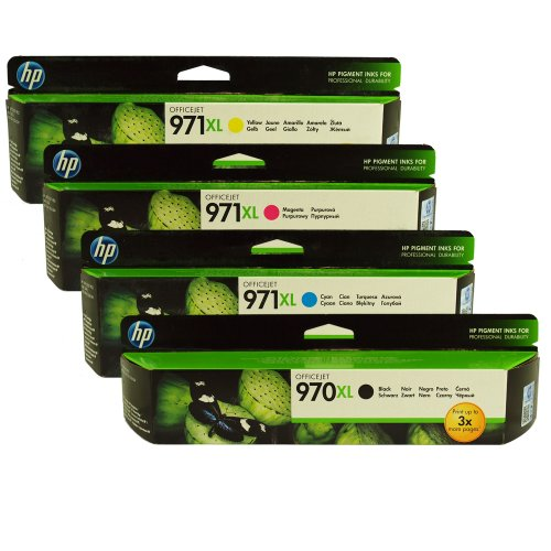 HP 970XL & 971XL Four Pack Black & Color Ink Cartridges (1 Black, 1 Cyan, 1 Magenta, 1 Yellow)