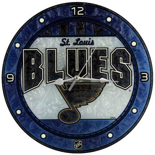 St. Louis Blues 12in Art Glass Clock NHL Hockey Fan Shop Sports Team Merchandise
