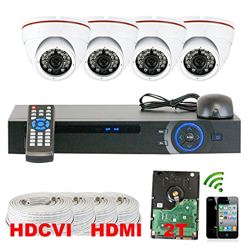 Best Sale High End Professional 4 Channel Hdcvi Dvr Security Camera System With 4 X1/2.9 Hdcvi Color Ir Cctv Security Camera, 1.0Mega Pixel Color Cmos, 3.6Mm Lens, 49 Feet Ir Distance. 1080P Real Time Preview, 720P Realtime Recording. Iphone, Android View